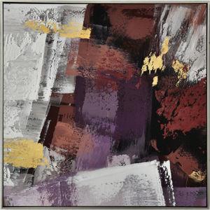 Monee OLEJOMALBA, abstraktní, 55/55 cm, - fialová, bílá, barvy zlata, tmavě hnědá