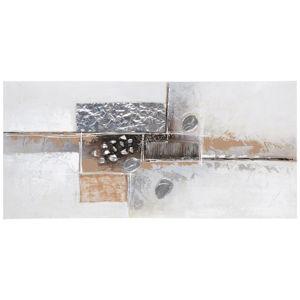 Monee OLEJOMALBA, abstraktní, 30/30 cm, - hnědá, černá, barvy stříbra