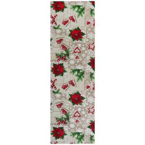 X-Mas BĚHOUN NA STŮL, 40/140 cm, krémová, zelená, červená - krémová, zelená, červená