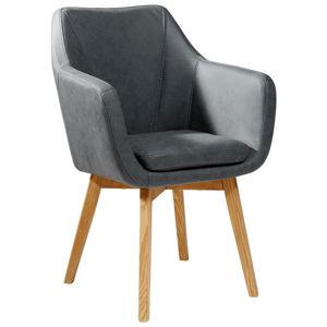 Židle S Područkami Antracitová Barvy Dubu Carryhome
